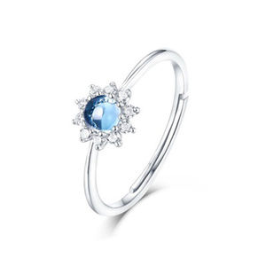 4mm Opal/Blue Topaz Art Halo CZ Diamond Ring